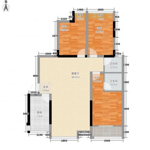 华坤花园3室1厅2卫1厨126.00㎡户型图