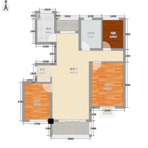 绿岛江湾城3室1厅1卫1厨116.00㎡户型图