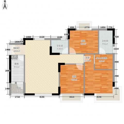 金穗家园3室1厅2卫1厨110.00㎡户型图