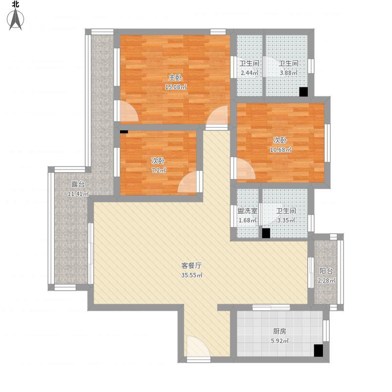 青年城三室120平