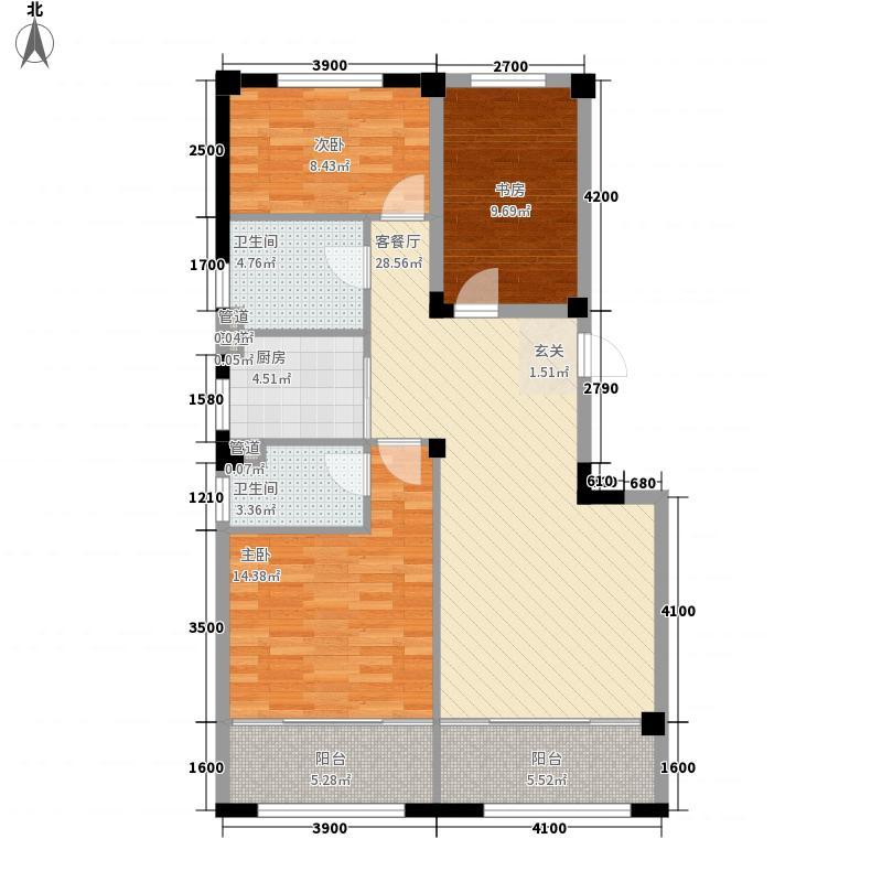 龙门山水华庭3室1厅2卫1厨120.00㎡户型图