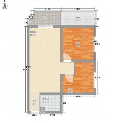 怡兴大厦2室1厅1卫1厨80.00㎡户型图