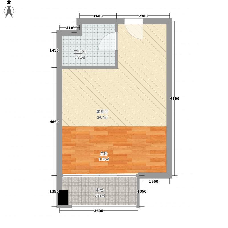 美恒领寓0室1厅1卫0厨45.00㎡户型图