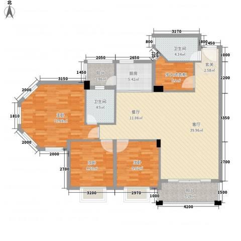 信景居3室1厅2卫1厨103.35㎡户型图