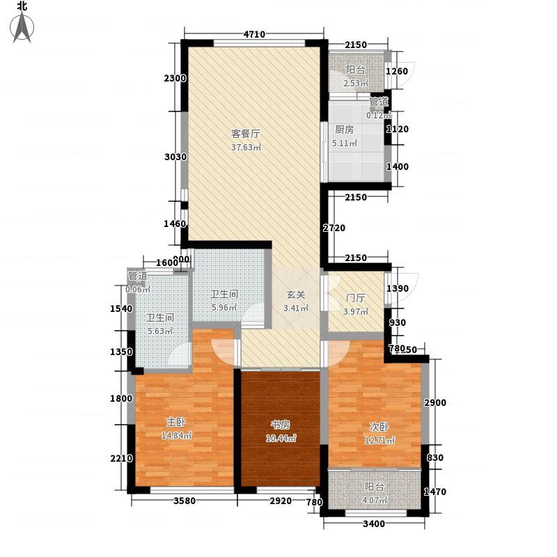 威高・青缇湾148.00㎡3#中间户正户型3室2厅2卫1厨