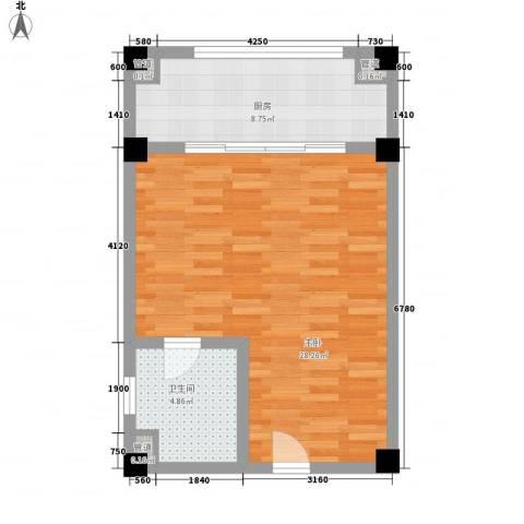 美丽春天温泉度假酒店公寓1室0厅1卫1厨58.00㎡户型图