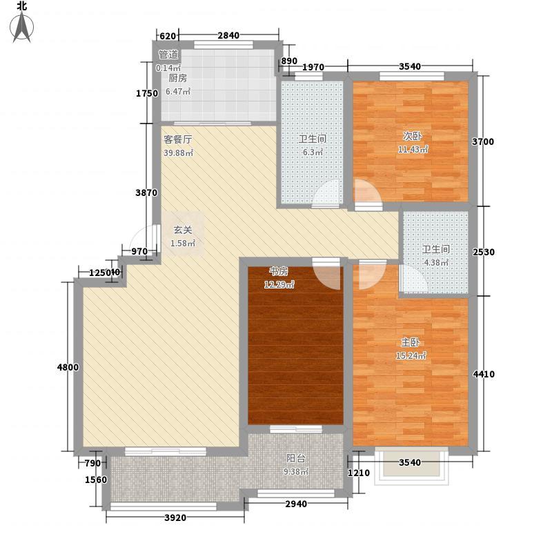 宝龙・翡翠城18号楼标准层C户型