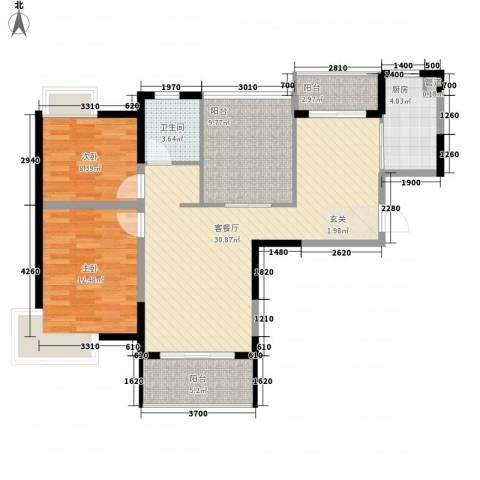 景隆现代城2室1厅1卫1厨99.00㎡户型图