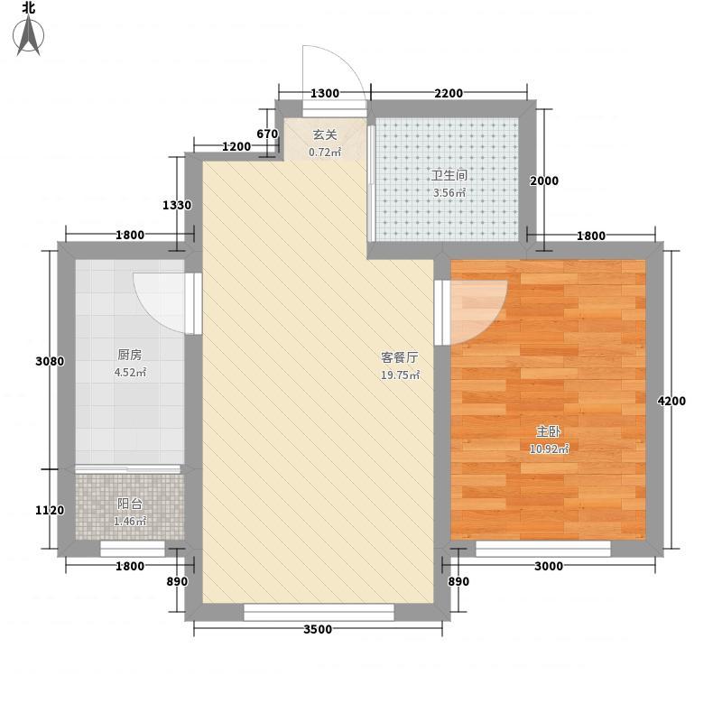 兆丰嘉座62.00㎡1-3号楼户型1室1厅1卫