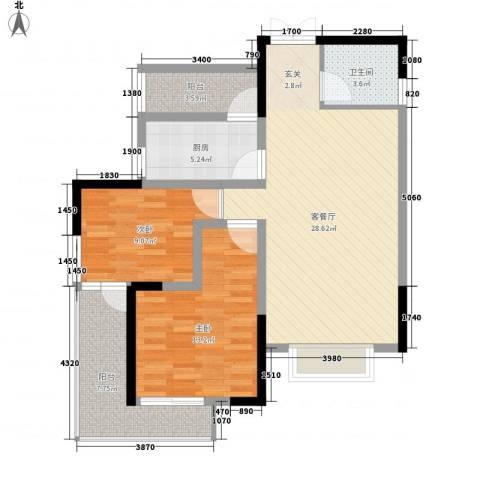 乐景花园2室1厅1卫1厨103.00㎡户型图