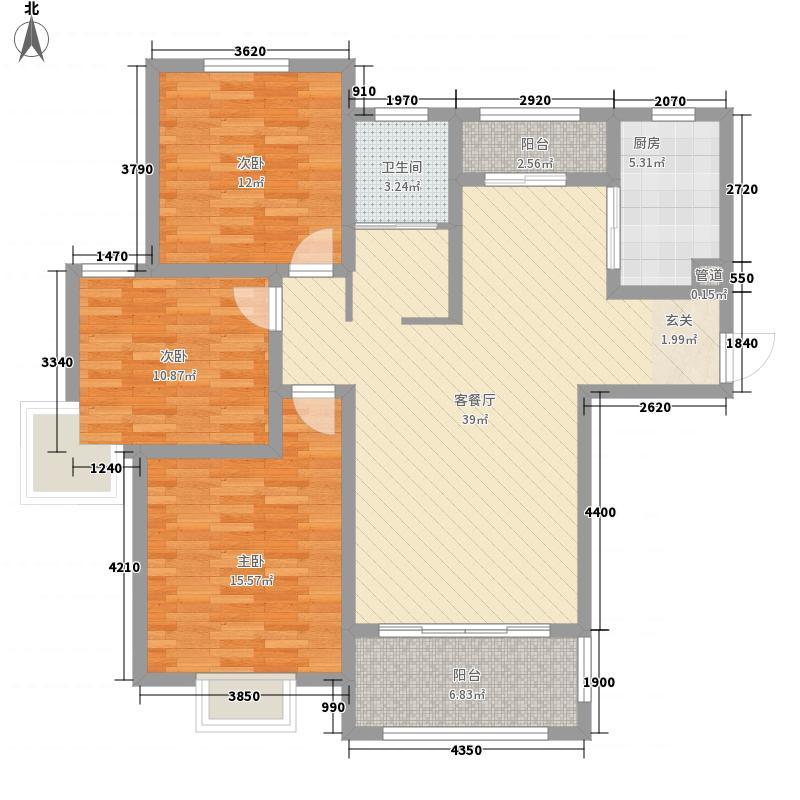 华府天地136.30㎡9#标准层东户L户型3室2厅1卫1厨