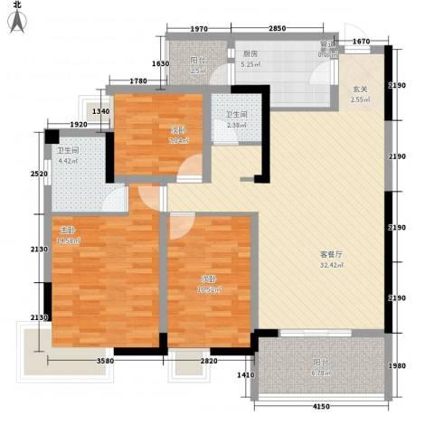 海博春天・龙池广场3室1厅2卫1厨124.00㎡户型图
