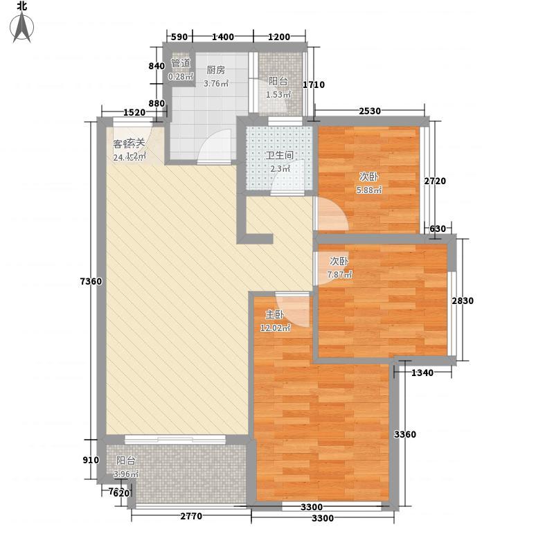 保利悦都3室1厅1卫1厨89.00㎡户型图