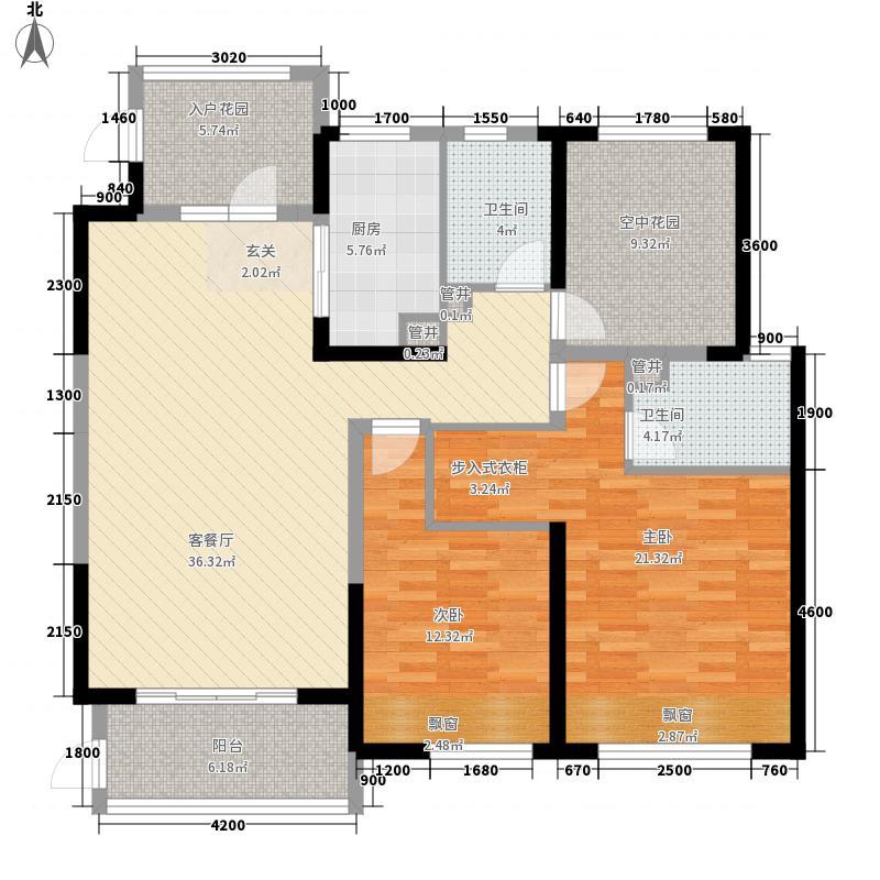 唐城壹零壹2室1厅2卫1厨136.00㎡户型图