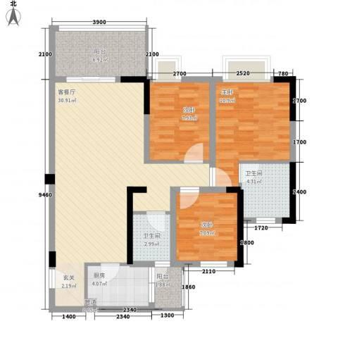 海博春天・龙池广场3室1厅2卫1厨77.29㎡户型图