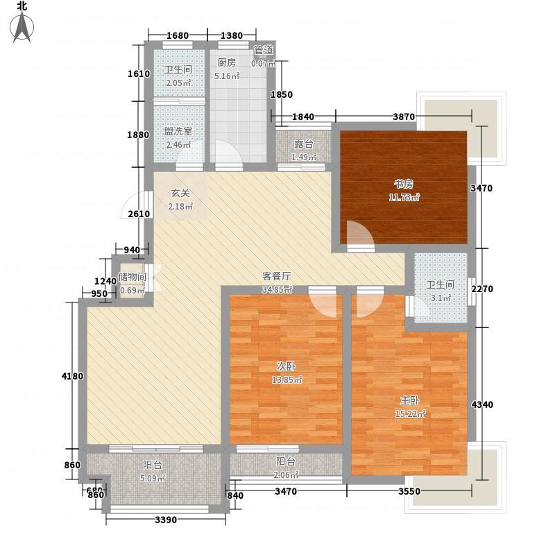 水清木华3室1厅2卫1厨143.00㎡户型图