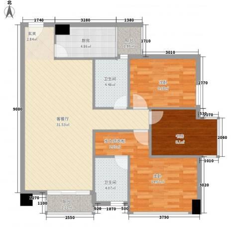 龙城国际3室1厅2卫1厨112.00㎡户型图