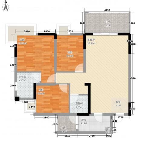 海博春天・龙池广场3室1厅2卫1厨113.00㎡户型图