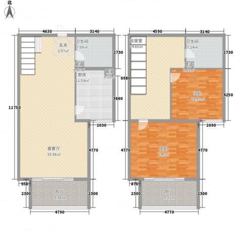 北部时光2室1厅2卫1厨167.21㎡户型图