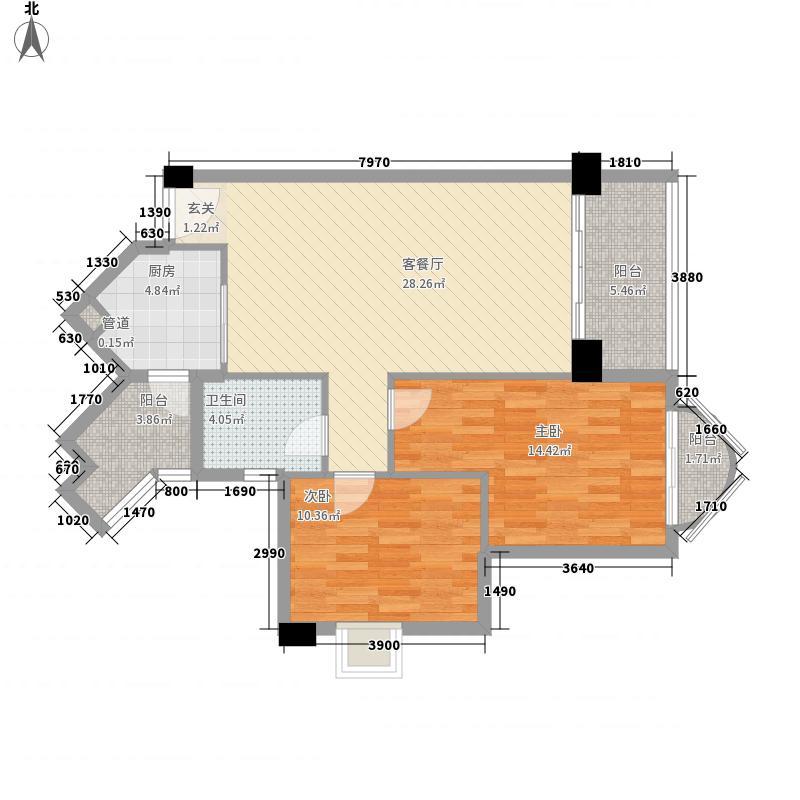 宏益江山丽园2室1厅1卫1厨127.00㎡户型图