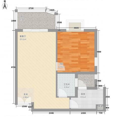嘉宝花园二期1室1厅1卫1厨52.98㎡户型图