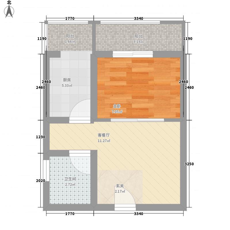 华安锦绣樱园1室1厅1卫1厨44.00㎡户型图