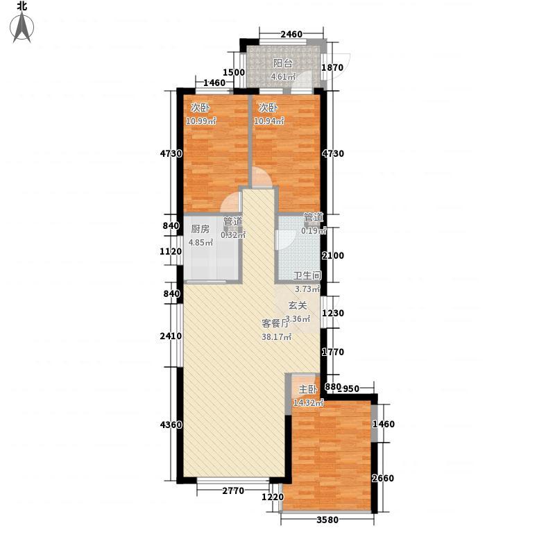 尚诚国际3室1厅1卫1厨123.00㎡户型图