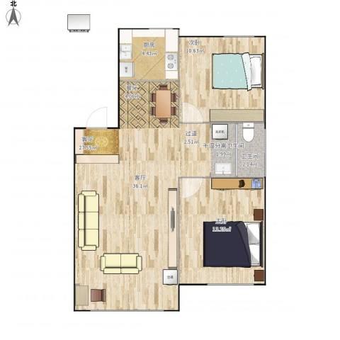 阳光世纪城2室1厅1卫1厨85.00㎡户型图