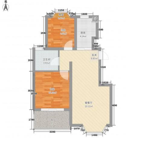 丰兴隆榆亚新村小区2室1厅1卫1厨68.00㎡户型图