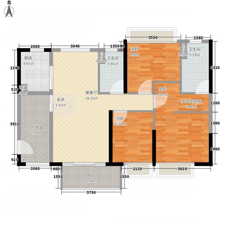 鼎丰・凤凰湾3室1厅2卫1厨86.23㎡户型图