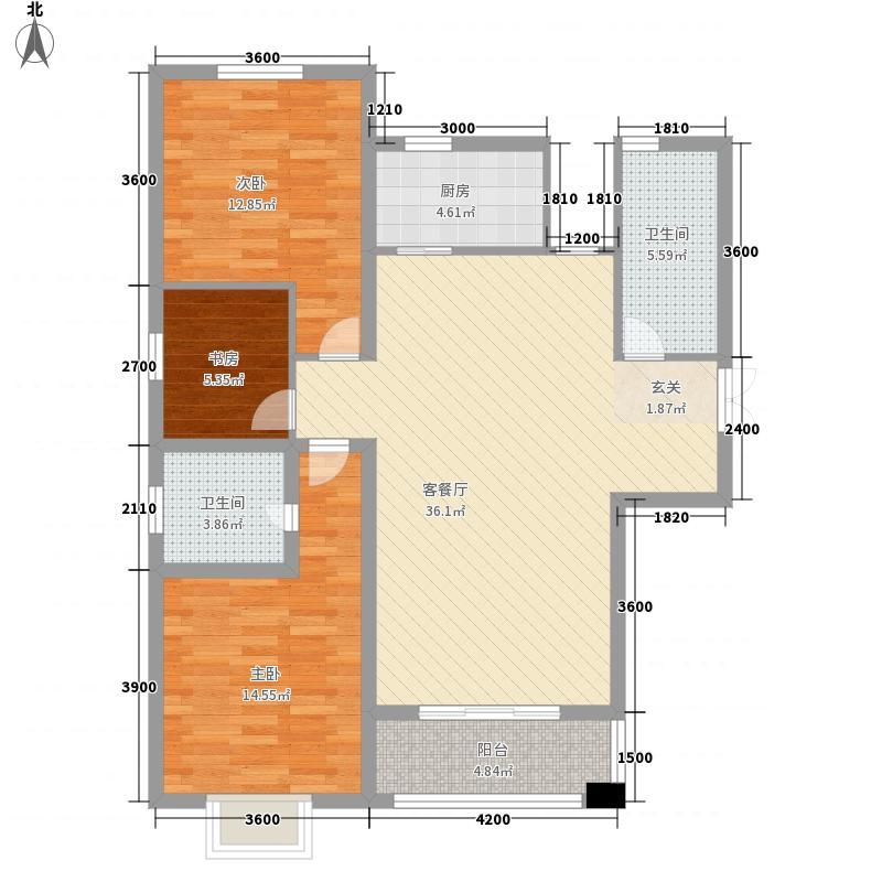 新元绿洲3室1厅2卫1厨126.00㎡户型图