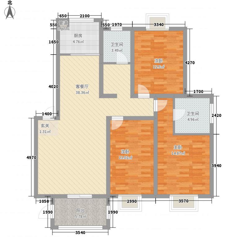 中港雅典城3室1厅2卫1厨140.00㎡户型图