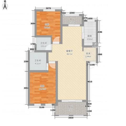 衡山城2室1厅2卫1厨82.40㎡户型图