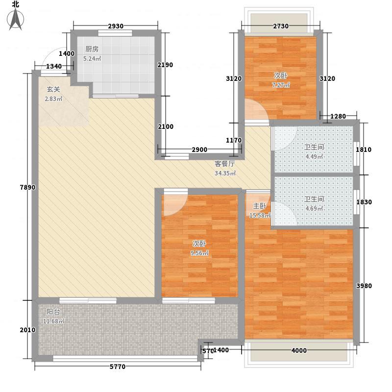 路劲・诺丁山3室1厅2卫1厨92.86㎡户型图