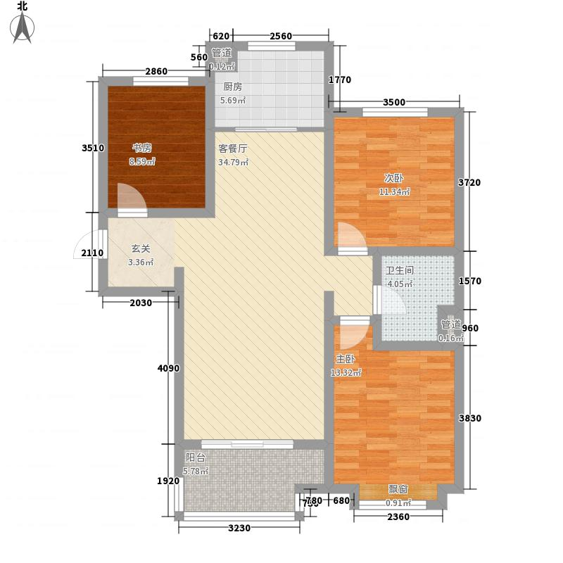 海尔世纪公馆3室1厅1卫1厨121.00㎡户型图