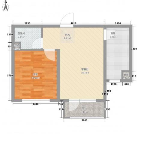 领秀蓝珀湖1室1厅1卫1厨60.00㎡户型图
