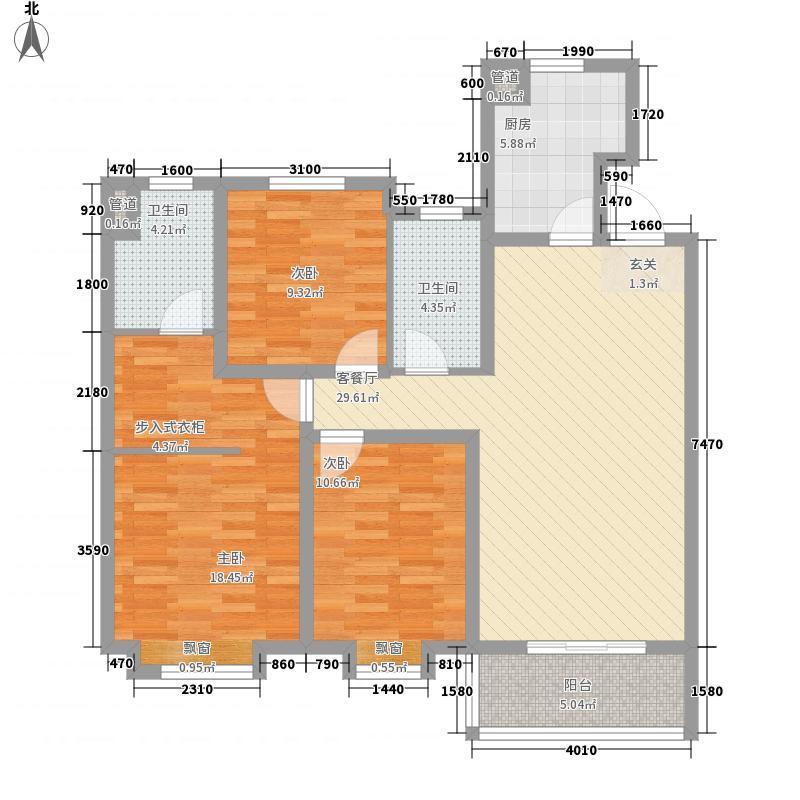 海尔世纪公馆3室1厅2卫1厨127.00㎡户型图