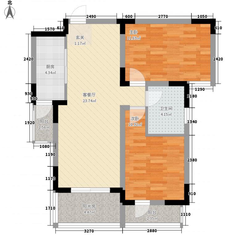 丰宁锦苑2室1厅1卫1厨91.00㎡户型图