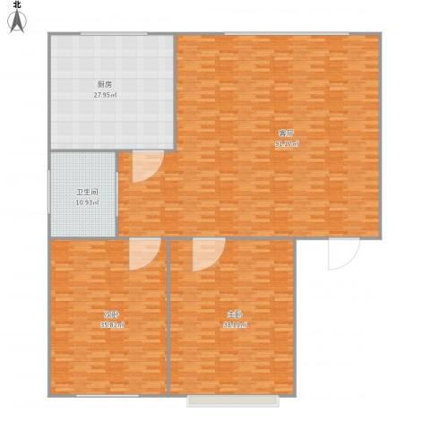 石油公司家属院2室1厅1卫1厨264.00㎡户型图
