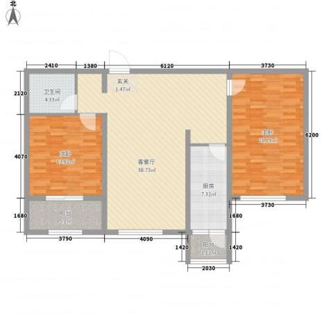 胜芳世纪花园2室1厅1卫1厨92.21㎡户型图