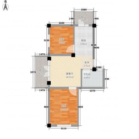 学府绿景苑2室1厅1卫0厨68.00㎡户型图