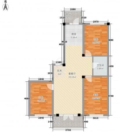 学府绿景苑3室1厅1卫0厨109.00㎡户型图