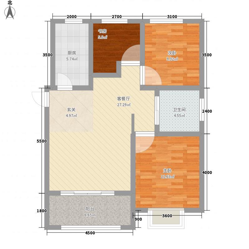 华冶新天地3室1厅1卫1厨104.00㎡户型图