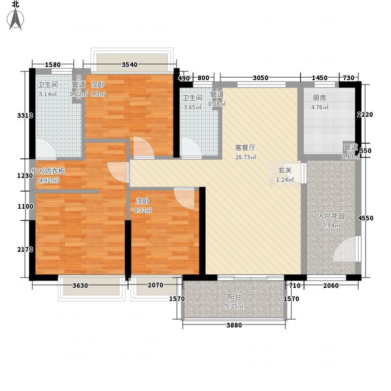 鼎丰・凤凰湾14.00㎡首期7座01单元户型3室2厅2卫1厨