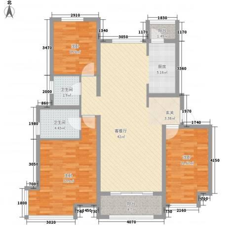 胜芳世纪花园3室1厅2卫0厨134.00㎡户型图