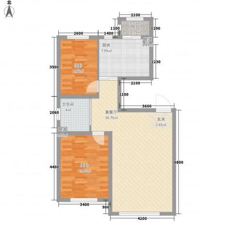 兆丰嘉座2室1厅1卫1厨93.00㎡户型图