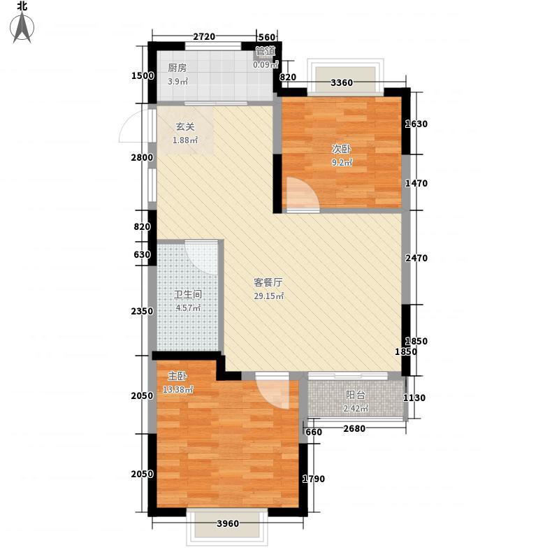 温莎郡2室1厅1卫1厨88.00㎡户型图
