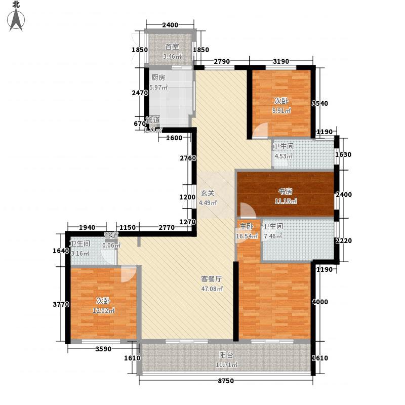 江湾城4室1厅3卫1厨188.00㎡户型图