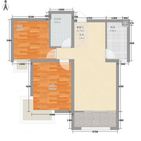 金苹果家园2室1厅1卫1厨85.00㎡户型图
