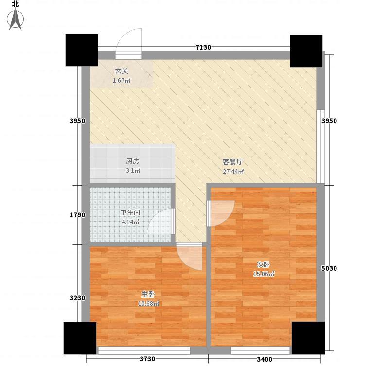 瀚都国际8.62㎡D户型2室1厅1卫